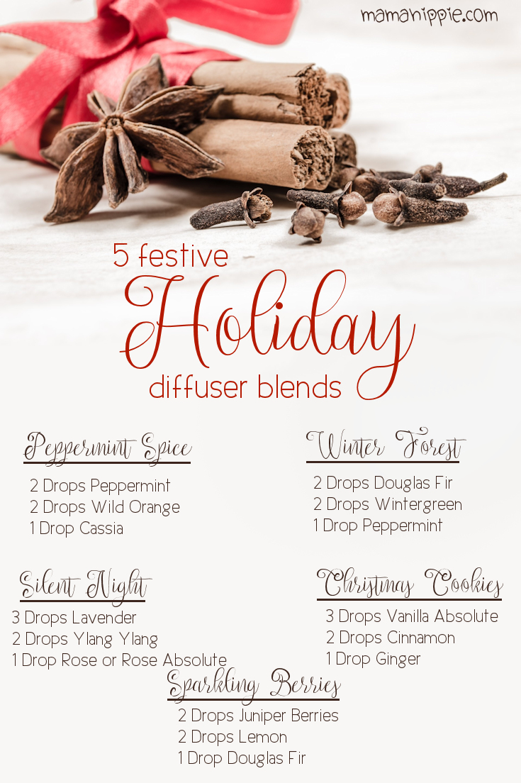 Put a little extra holiday cheer in your house by diffusing a festive essential oil blend.