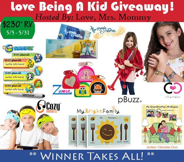 Love Being A Kid Giveaway (5/5-5/31/17; USA)