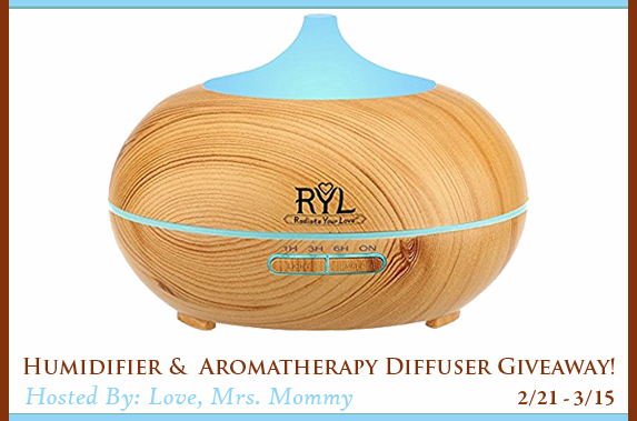Humidifier & Aromatherapy Diffuser Giveaway (2/21-3/15; USA)