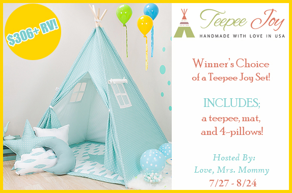 Winner's Choice of Teepee Joy Set Giveaway! $306+ RV