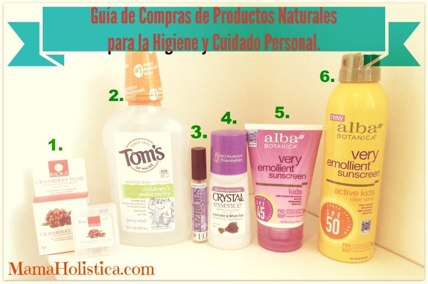 Guía de Compras con Productos Naturales para la Higiene y Cuidado Personal.