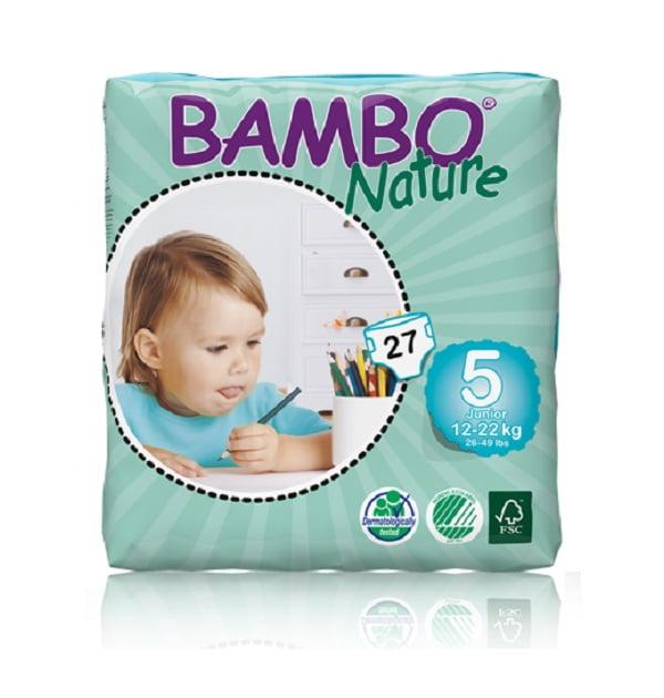 Sauskelnės Bambo Nature Junior 5, 12-22kg, 27vnt.