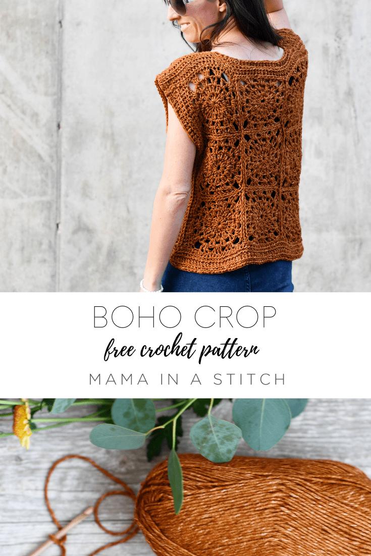 ladies crochet size inclusive crochet pdf Crochet Pattern boho style boho crop top lacy crochet summer crochet Summer Bliss Top