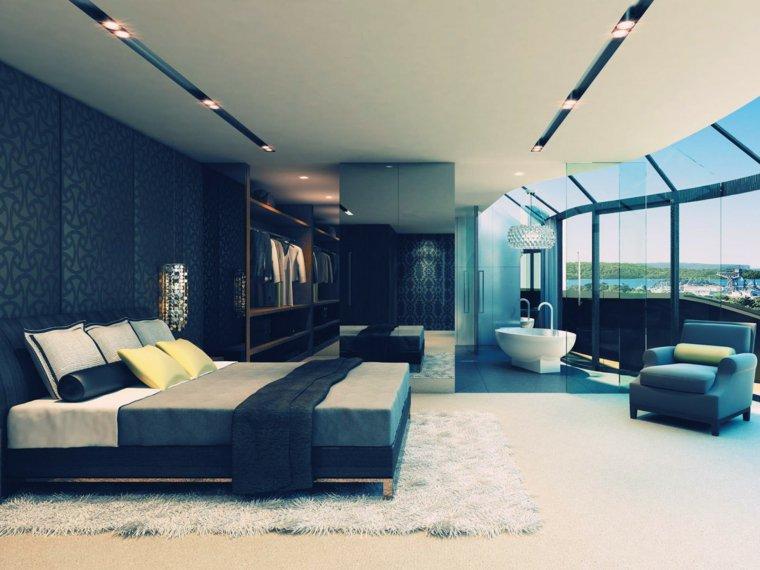 une baignoire dans la chambre avec des baies vitrees deco esthetique et design