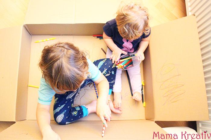 Malen für Kinder im Karton ohne Sauerei