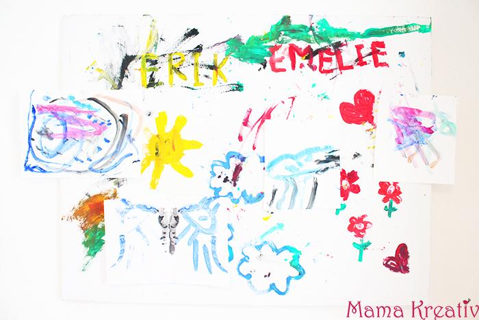 Pinnwand selber machen Kinderbilder aufhängen