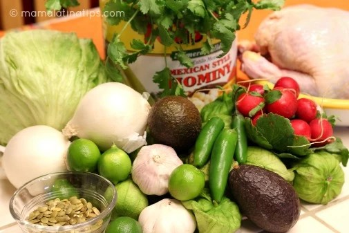 ingredients for Mexican green pozole