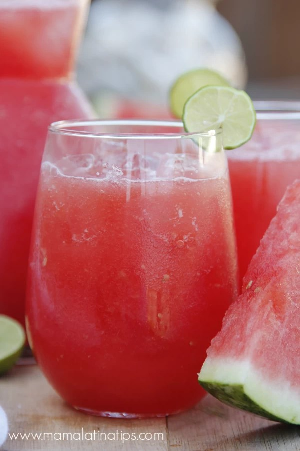 Glass of watermelon agua fresca with lime