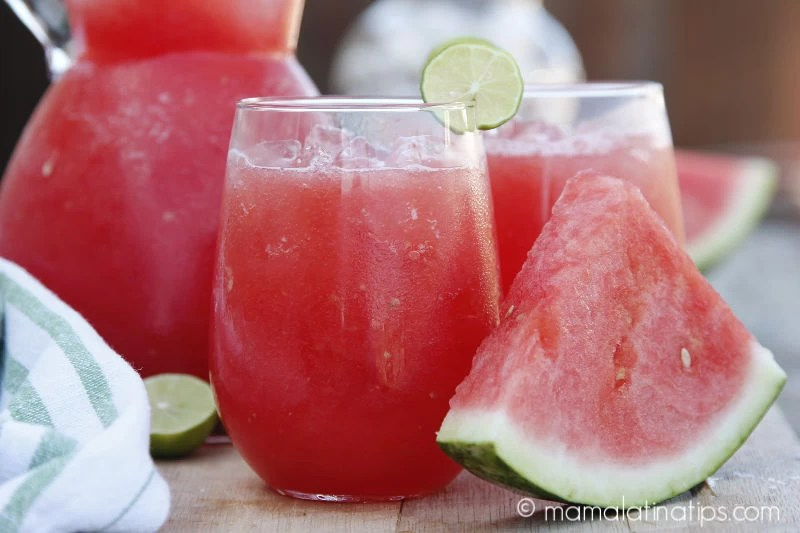 watermelon agua fresca in a glass