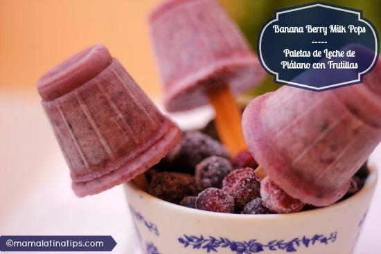 Paletas de Leche con Platano y Frutillas