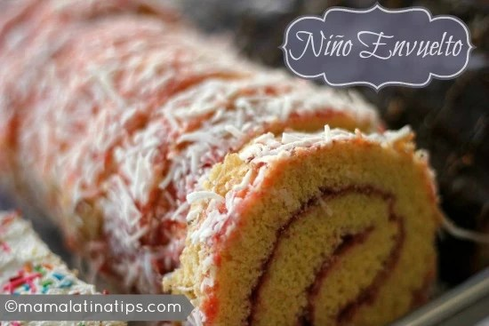 Niño Envuelto with strawberry marmalade and coconut