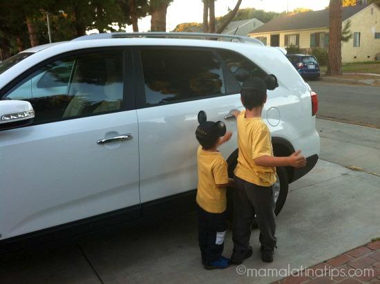 Kids getting in Car