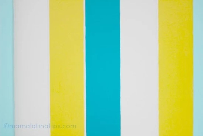 colorful stripes, white, yellow and blue