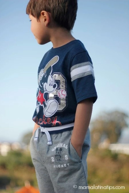 kid wearing new Disney clothing line - mamalatinatips.com