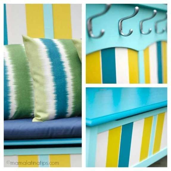 collage of a bench painted with submerged colors details -