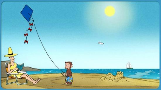 Curious George on the Beach