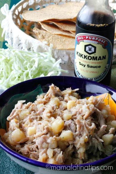 Salpicón y salsa de soya Kikkoman