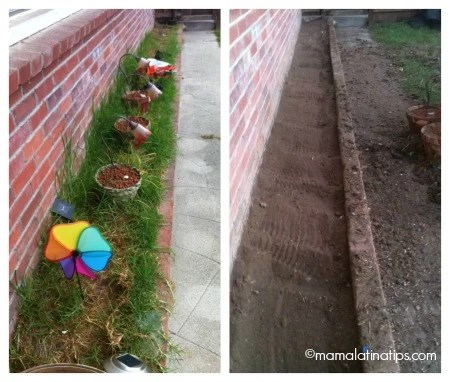 flower bed before and after