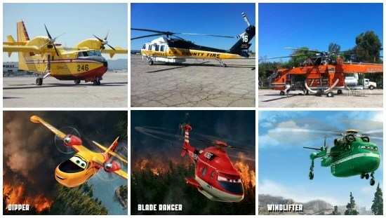 Planes fire and rescue, animated and real