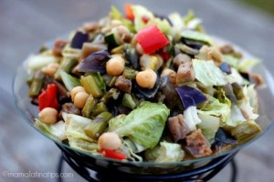 Eggplant and garbanzo salad - mamalatinatips.com