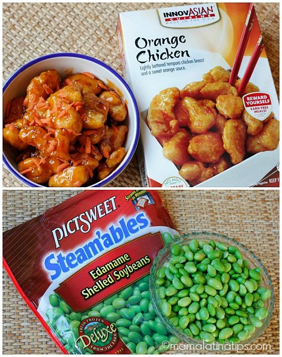 Orange Chicken Pita Pockets with Spicy Edamame
