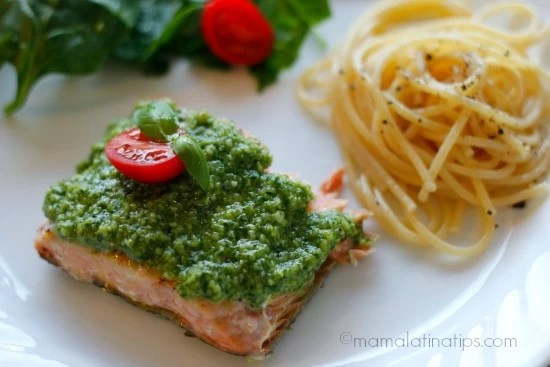 Salmon and Pesto by mamalatinatips.com
