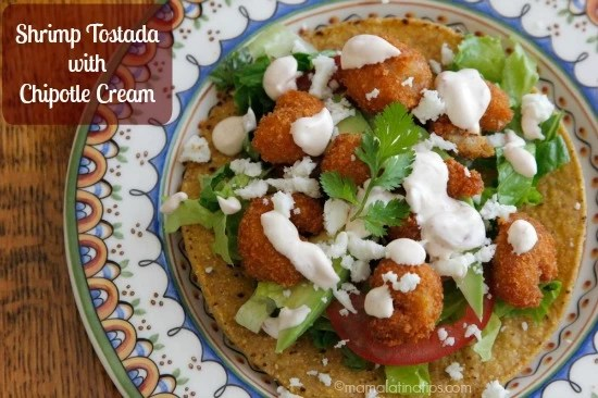 Shrimp Tostadas with Chipotle Cream