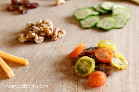 Cherry tomatoes, walnuts and cucumbers by mamalatinatips.com