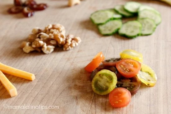Cherry tomatoes, walnuts and cucumbers by mamalatinatips.com