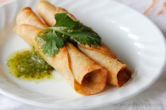 Taquitos dorados with salsa verde - mamalatinatips.com