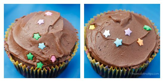 Chocolate cupcakes with constellations