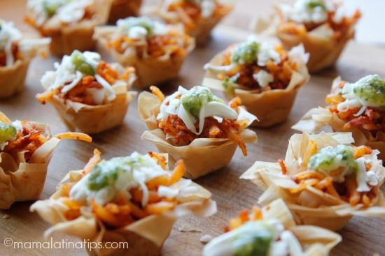 Chorizo potato bites with salsa verde - mamalatinatips.com