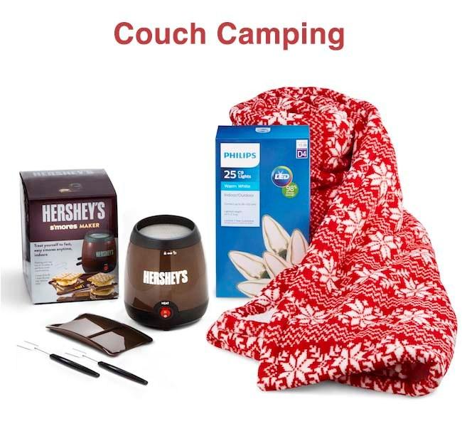 Hersheys chocolate, red blanket and lights