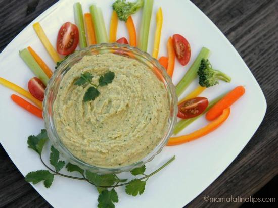 Cilantro Hummus - mamalatinatips.com
