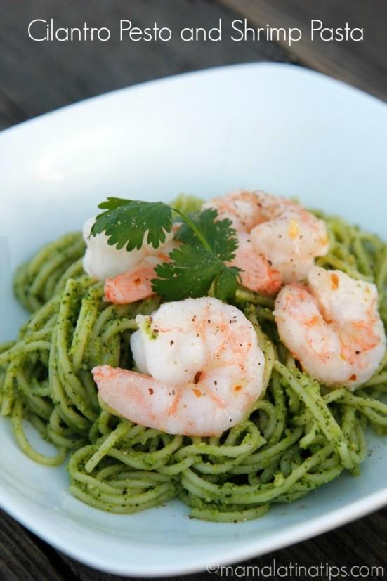 Cilantro pesto shrimp pasta - mamalatinatips.com