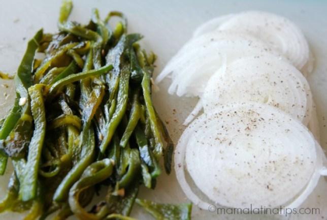 poblano chiles and onions - mamalatinatips.com