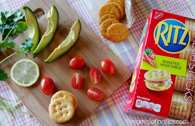 tomatoes, avocado and Ritz crackers - mamalatinatips.com