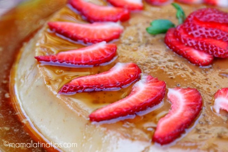 Strawberry flan by mamalatinatips.com