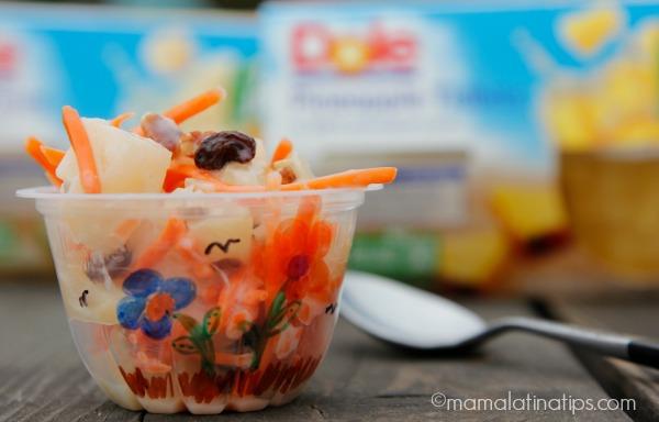 Ensalada de piña y pera en bowls - mamalatinatips.com