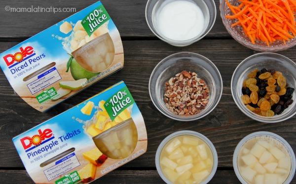 ensalada de piña y pera con aderezo de yogurt - ingredientes - mamalatinatips.com