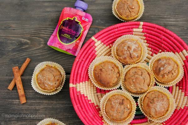 Apple-strawberry breakfast muffins by mamalatinatips.com