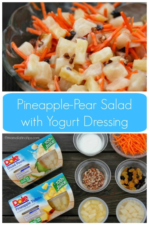 Crunchy and sweet pineapple-pear salad with yogurt dressing. As easy as 1-2-3