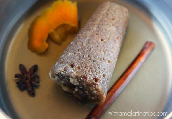Piloncillo, star anise, cinnamon and orange peel - mamalatinatips.com