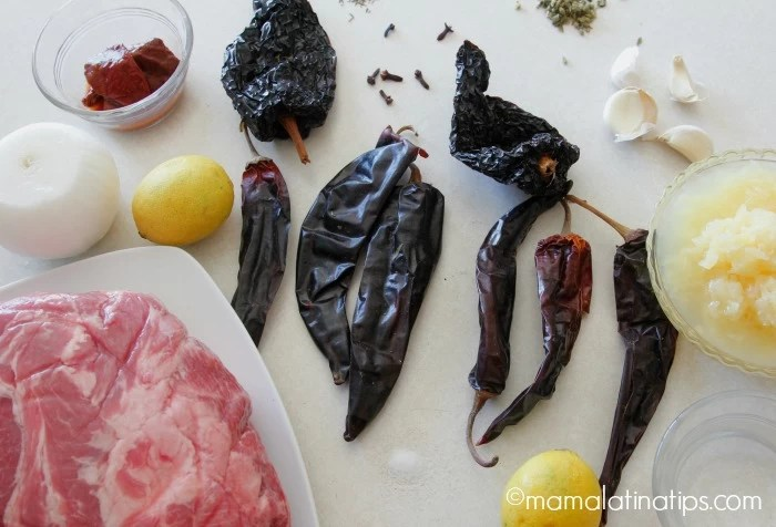 Ingredientes para Tacos al Pastor. Mamalatinatips.com