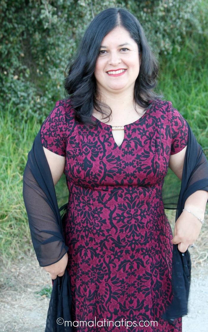 Vestido color vino para fiestas - mamalatinatips.com