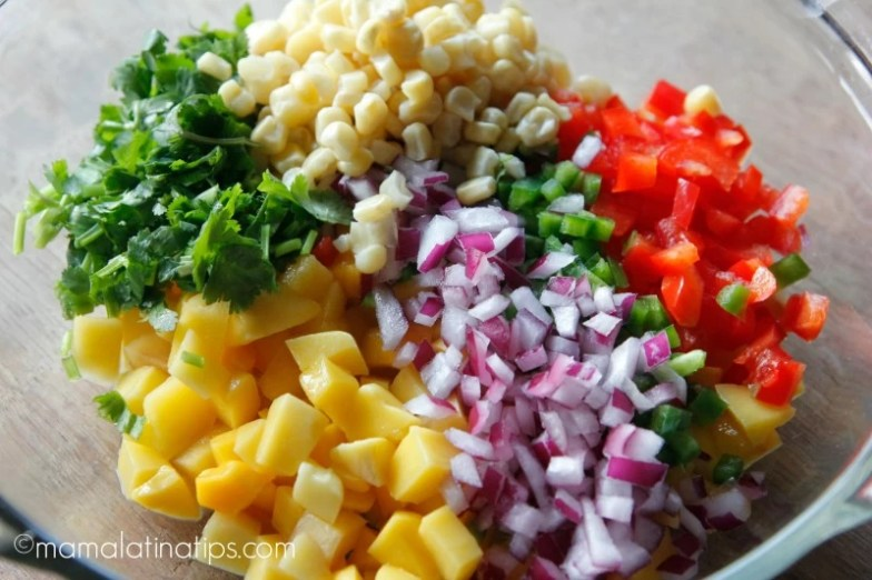 Mango Salsa ingredients - mamalatinatips.com