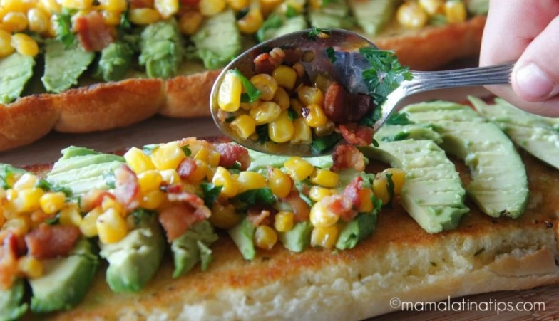 Bacon Avocado Garlic Toast with Corn by mamalatinatips.com