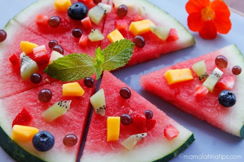 Watermelon pizza by mamalatinatips.com