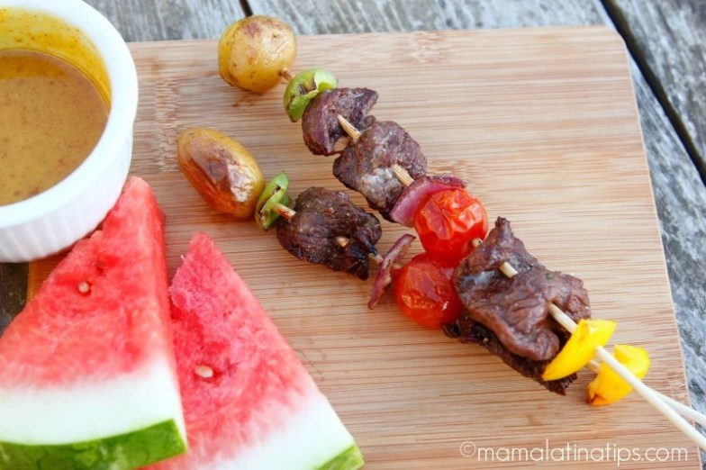 Grilled Angus Beef Kabobs for Kids with watermelon slices and dipping sauce
