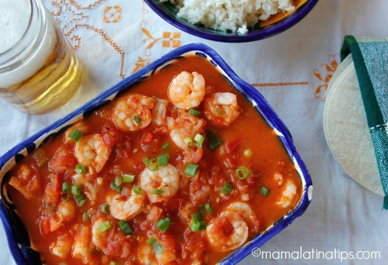 camarones en salsa de jitomate y cerveza